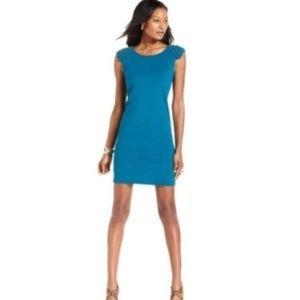 NWT Betsey Johnson Blue Gold Spikes Studded Dress